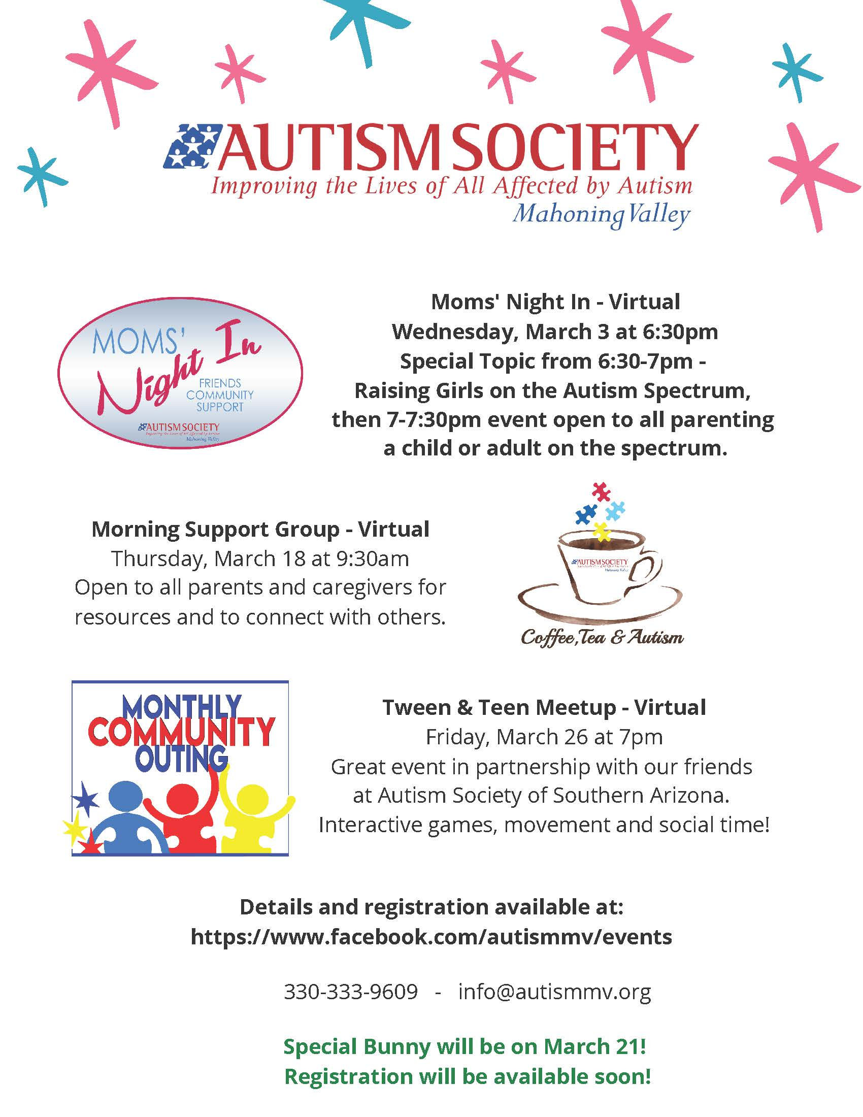 Autism Society March 2021 Programs